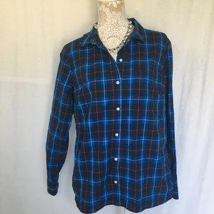 Gap // Blue Boyfriend Fit Plaid Button Up L
